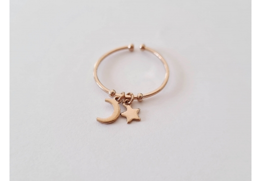 Bague Moon and star or rose
