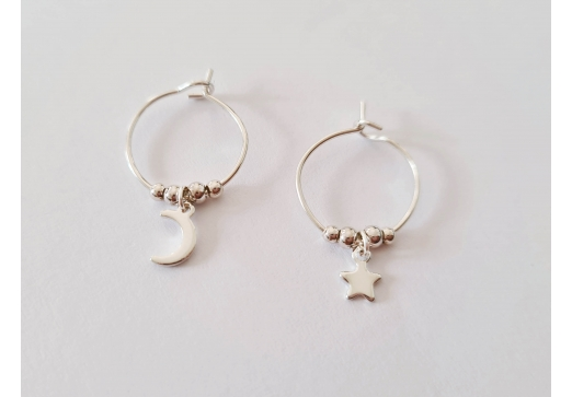 Mini Créoles Moon And Star argent
